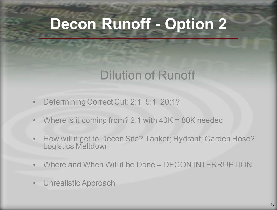 10 Decon Runoff - Option 2 Dilution of Runoff Determining Correct Cut: 2:1 5:1 20:1.