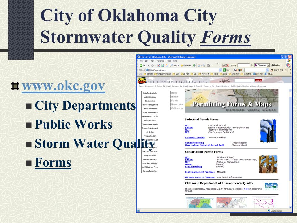 City of Oklahoma City Stormwater Quality Forms www.okc.gov City Departments Public Works Storm Water Quality Forms