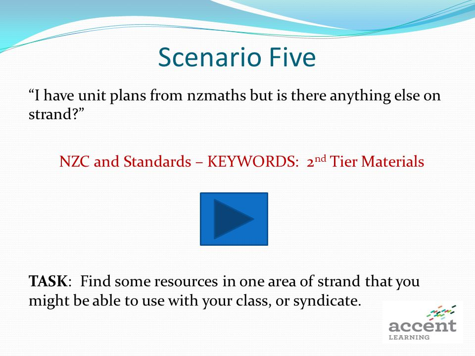 Scenario Five I have unit plans from nzmaths but is there anything else on strand.