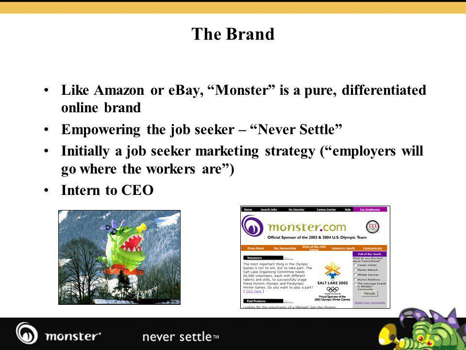How Monster Makes Money Profitable globally and in the UK Charge employers to post jobs on site or search CV db (500,000+) Banners, profiles, Webcasts Power companies career sites, ATS