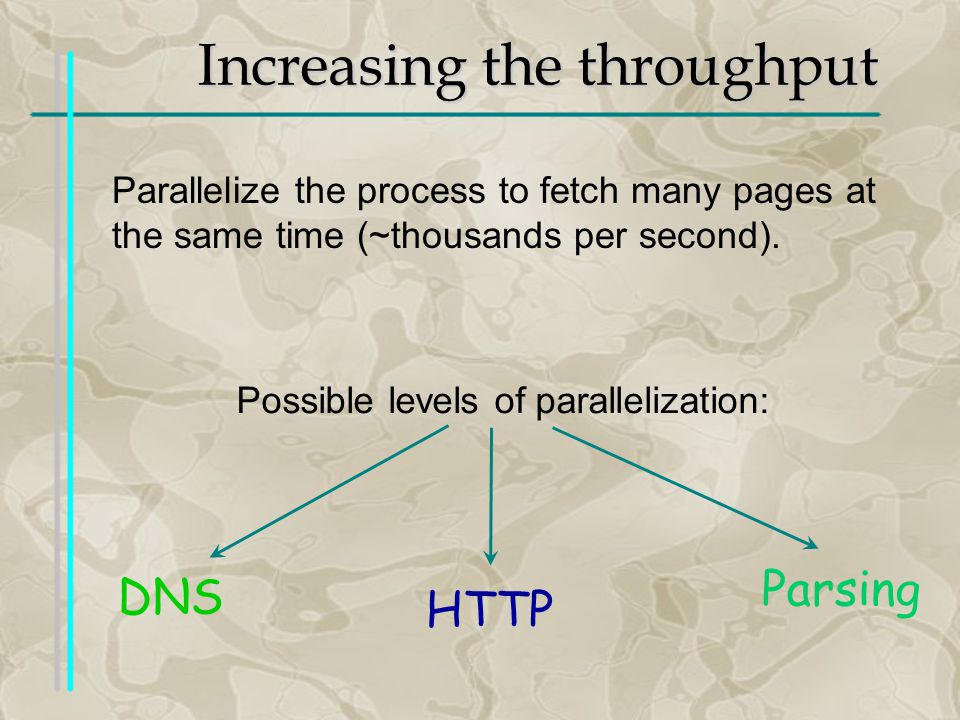 Increasing the throughput Possible levels of parallelization: Parallelize the process to fetch many pages at the same time (~thousands per second).