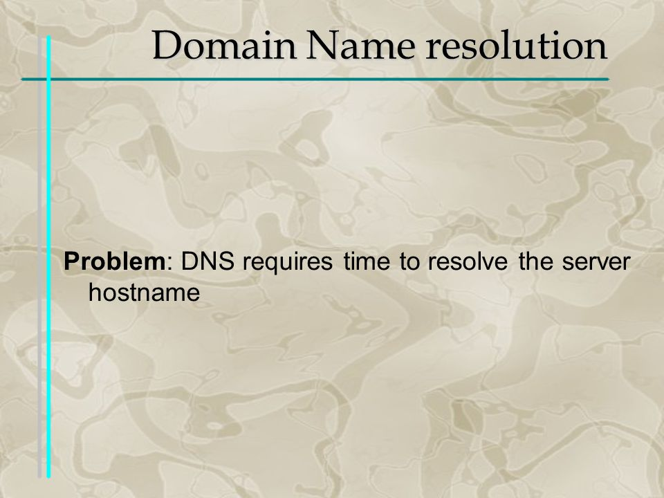 Domain Name resolution Problem: DNS requires time to resolve the server hostname
