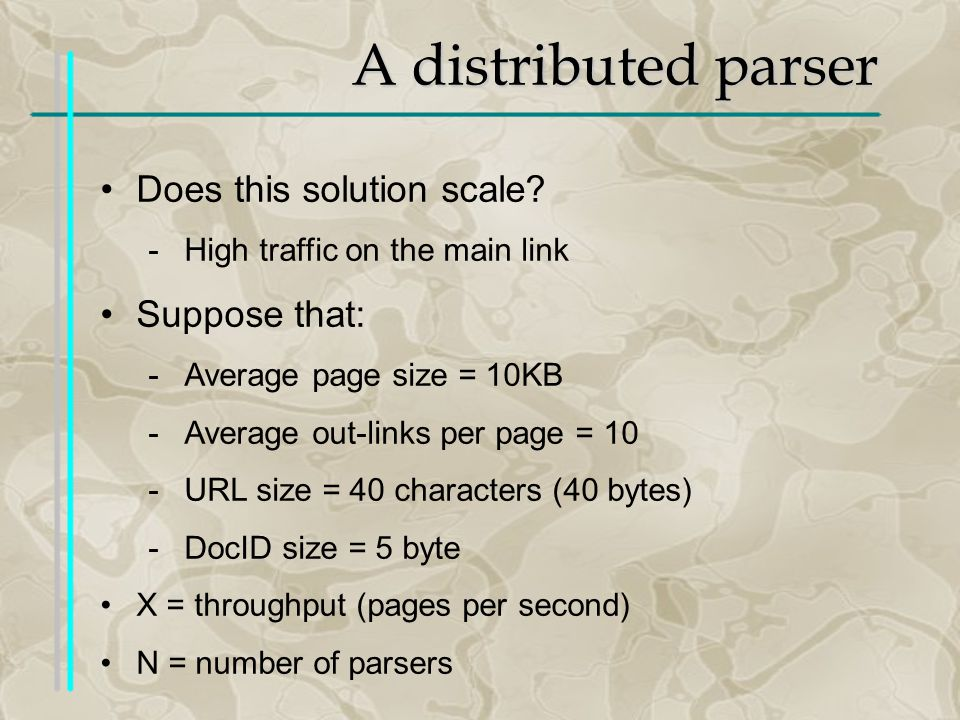 A distributed parser Does this solution scale.