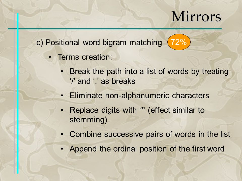 Mirrors c)Positional word bigram matching Terms creation: Break the path into a list of words by treating / and.