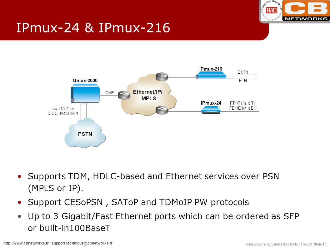 Pseudowire Solutions Update for TS2008 Slide 11 http://www.cbnetworks.fr - support.technique@cbnetworks.fr IPmux-24 & IPmux-216 Supports TDM, HDLC-based and Ethernet services over PSN (MPLS or IP).