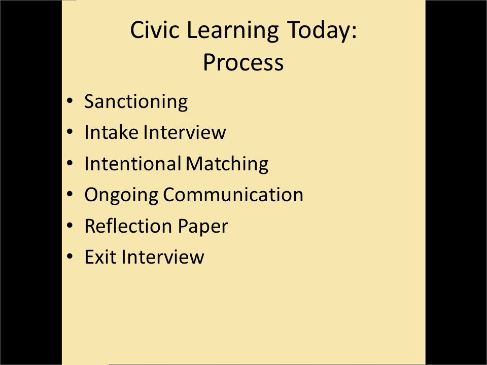 Civic Learning Today: Process Sanctioning Intake Interview Intentional Matching Ongoing Communication Reflection Paper Exit Interview