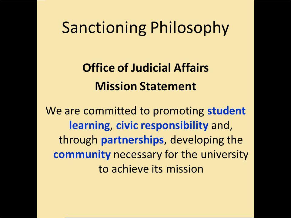 Sanctioning Philosophy Guidelines Responsibility vs.