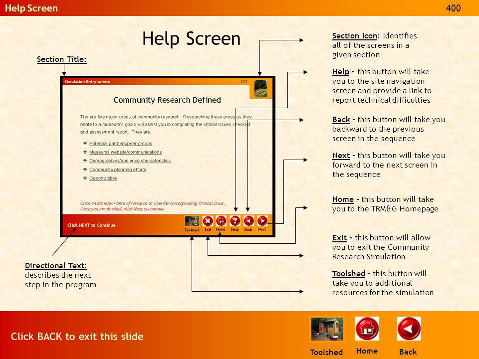 Back Home Help Screen Click BACK to exit this slide 400 Toolshed Section Title: Section Icon: Identifies all of the screens in a given section Directi