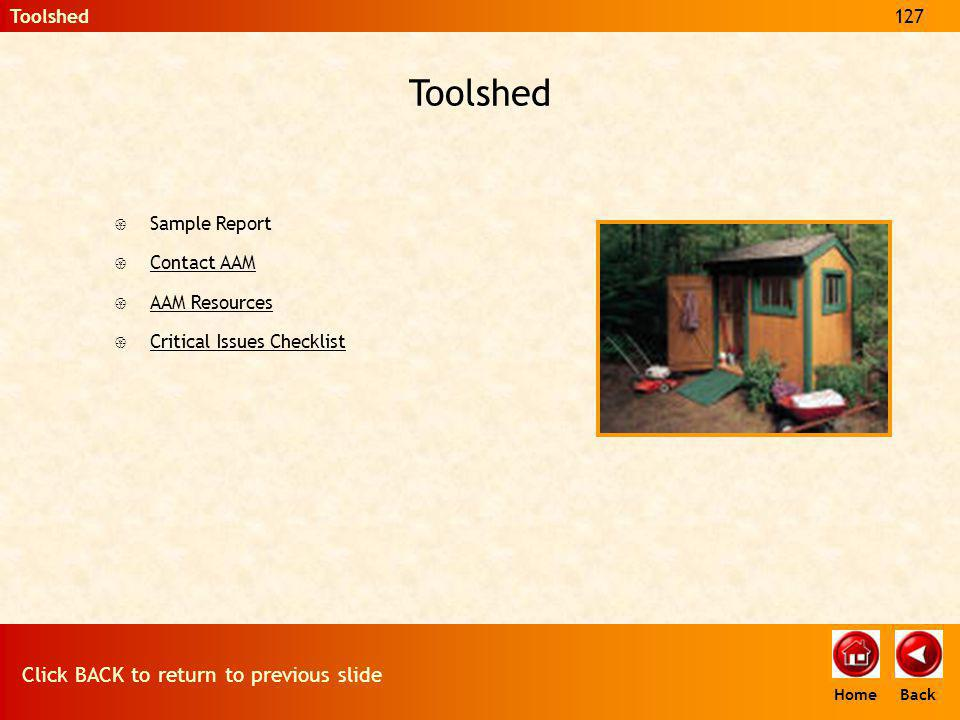 Toolshed { Sample Report { Contact AAM Contact AAM { AAM Resources AAM Resources { Critical Issues Checklist Critical Issues Checklist Toolshed127 Cli