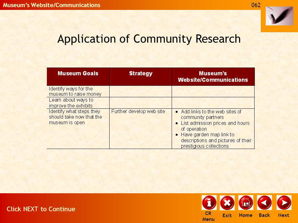 Application of Community Research 062 Click NEXT to Continue Next Back Museums Website/Communications Home Exit CR Menu