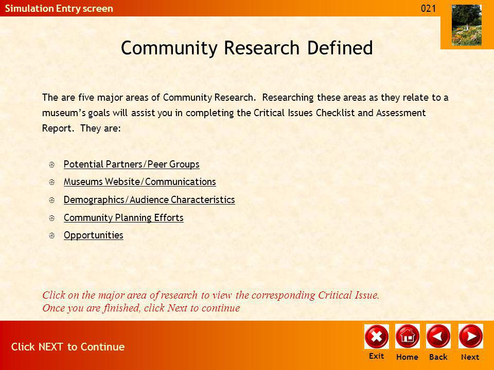 Community Research and the Assessment Critical Issue questions are divided into five (5) Main Areas.