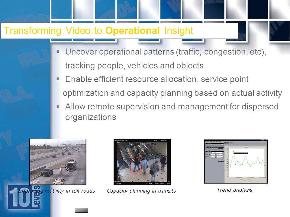 18 Transforming Video to Operational Insight Uncover operational patterns (traffic, congestion, etc), tracking people, vehicles and objects Enable efficient resource allocation, service point optimization and capacity planning based on actual activity Allow remote supervision and management for dispersed organizations Improving mobility in toll-roadsCapacity planning in transits Trend-analysis