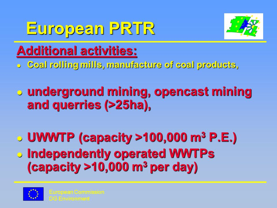 European Commission DG Environment European PRTR Today.