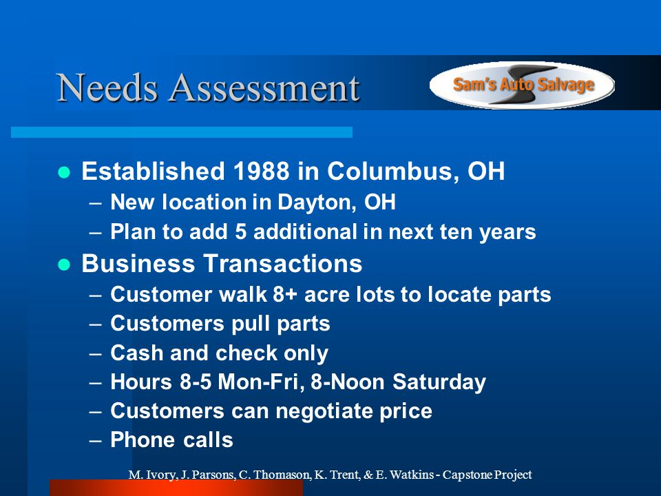 M. Ivory, J. Parsons, C. Thomason, K. Trent, & E. Watkins - Capstone Project Needs Assessment Established 1988 in Columbus, OH –New location in Dayton