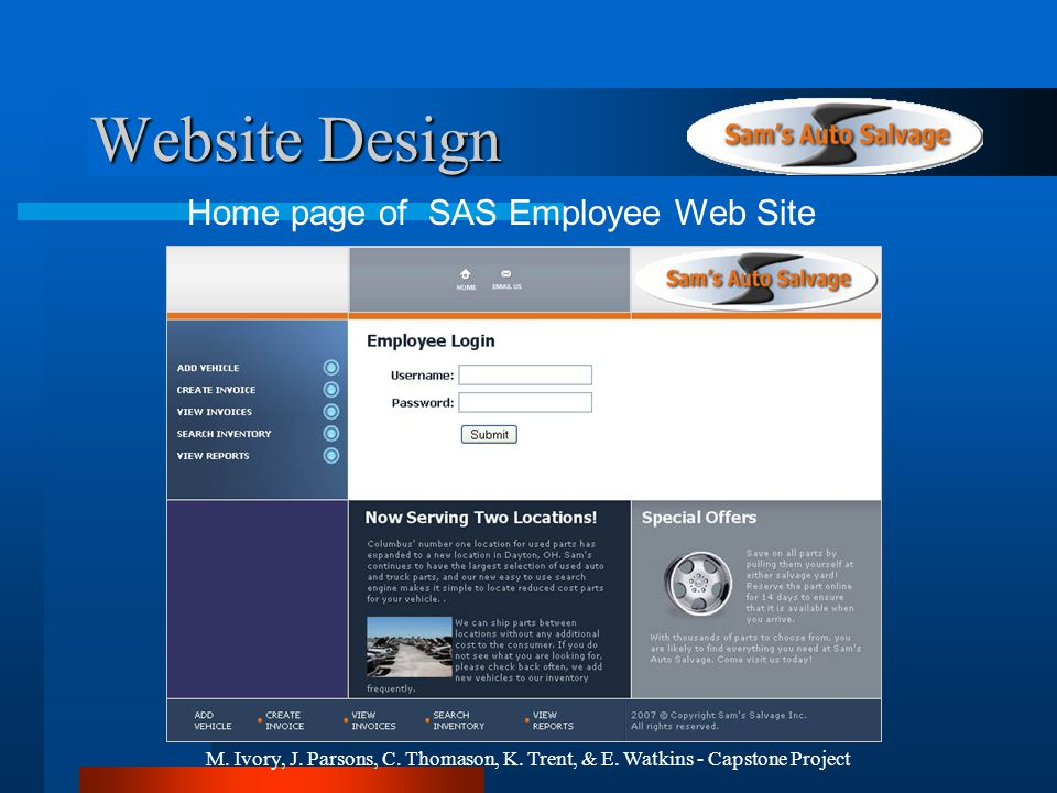 M. Ivory, J. Parsons, C. Thomason, K. Trent, & E. Watkins - Capstone Project Website Design Home page of SAS Employee Web Site