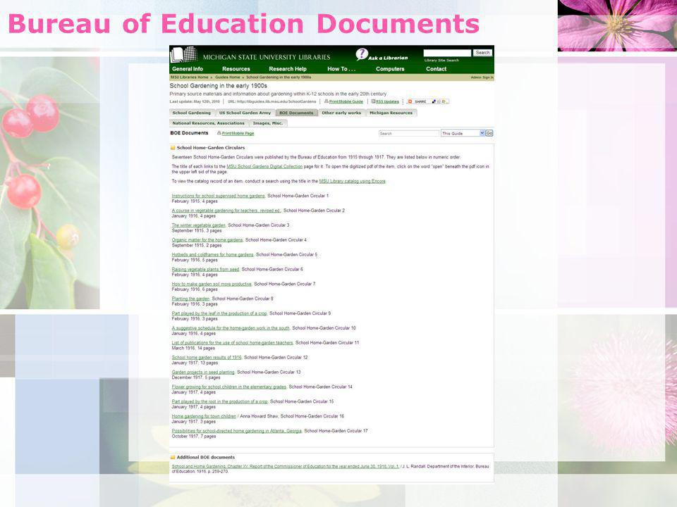 Bureau of Education Documents