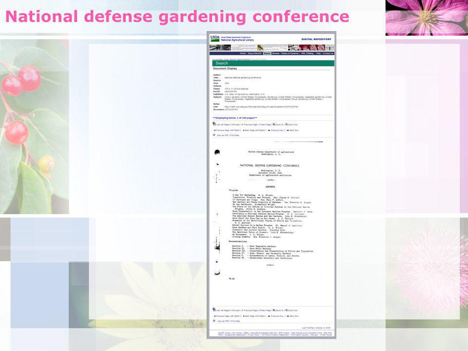 National defense gardening conference
