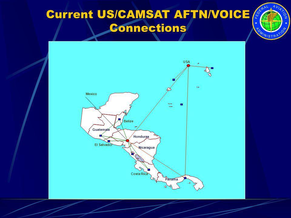 Belize Guatemala El Salvador Honduras Costa Rica Panama Nicaragua USA Cuba Cayman Islands Mexico Current US/CAMSAT AFTN/VOICE Connections