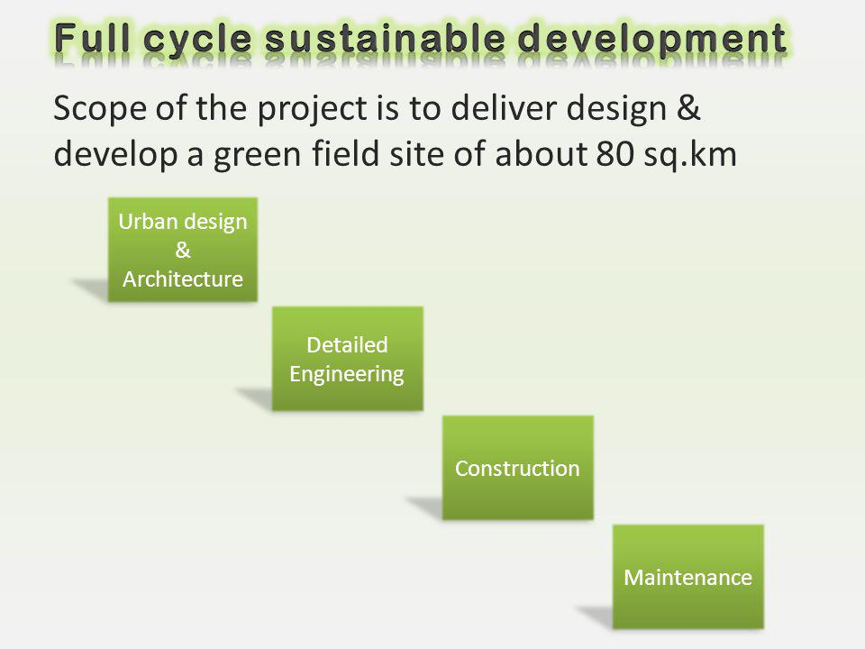 Scope of the project is to deliver design & develop a green field site of about 80 sq.km Urban design & Architecture Detailed Engineering Construction