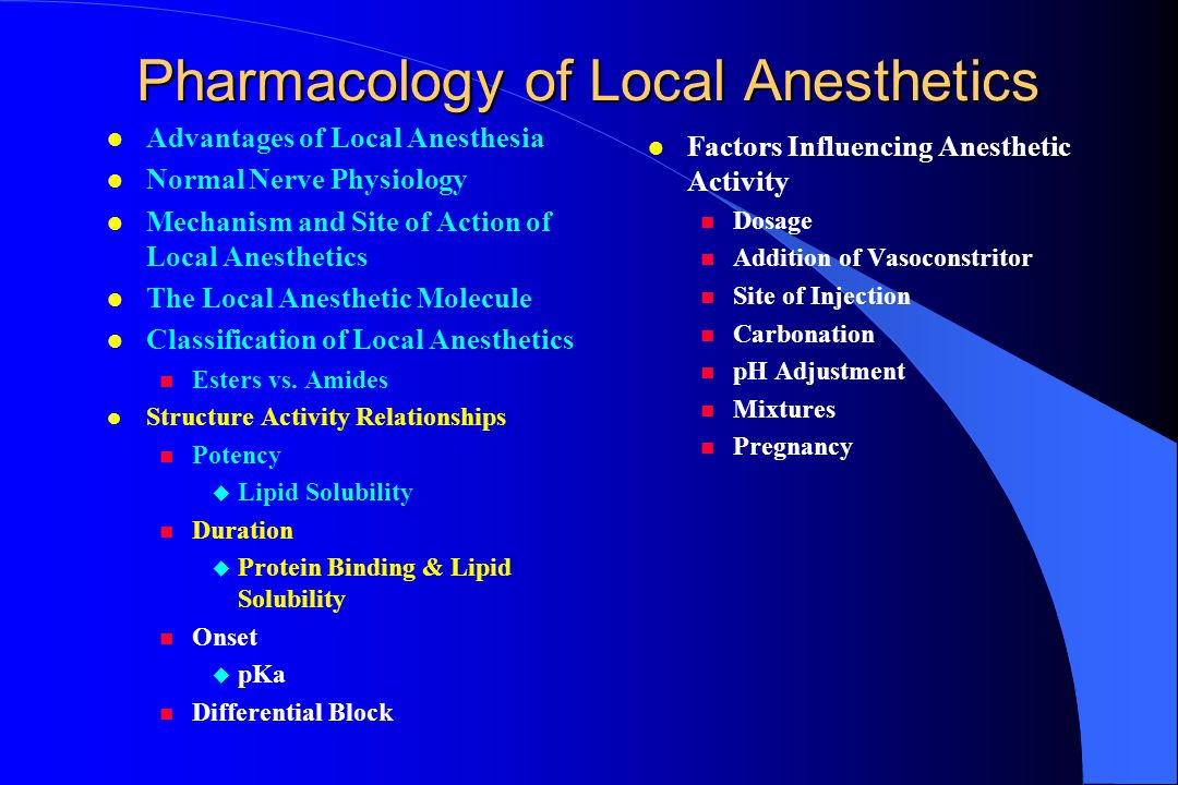 l The most lipid soluble agents (amethocaine and etidocaine) are the most potent (lowest ED 50 ).