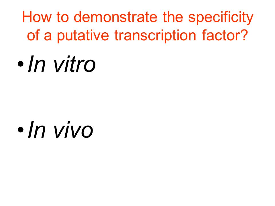 How to demonstrate the specificity of a putative transcription factor In vitro In vivo