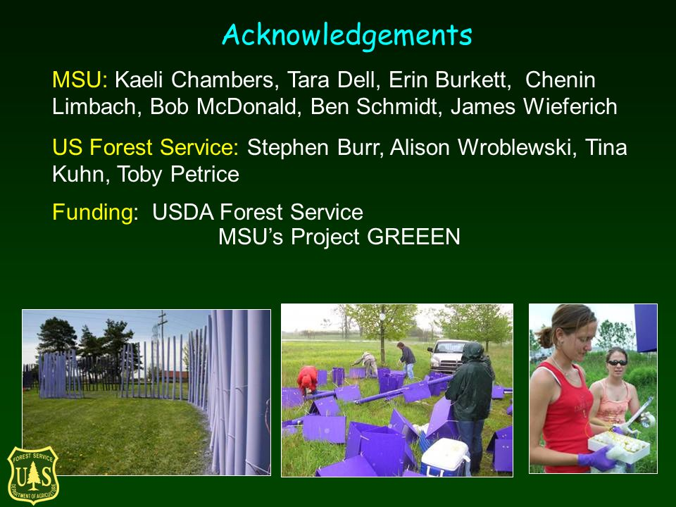 Acknowledgements MSU: Kaeli Chambers, Tara Dell, Erin Burkett, Chenin Limbach, Bob McDonald, Ben Schmidt, James Wieferich US Forest Service: Stephen Burr, Alison Wroblewski, Tina Kuhn, Toby Petrice Funding: USDA Forest Service MSUs Project GREEEN