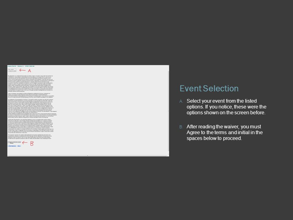 Event Selection A. Select your event from the listed options.