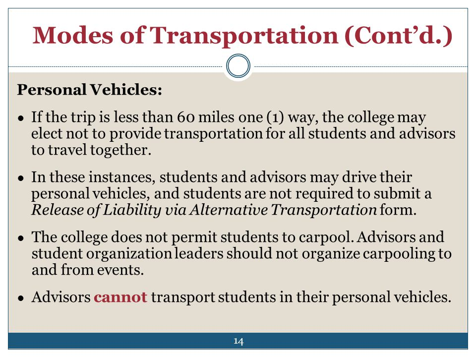 Modes of Transportation (Contd.) Personal Vehicles: If the trip is less than 60 miles one (1) way, the college may elect not to provide transportation