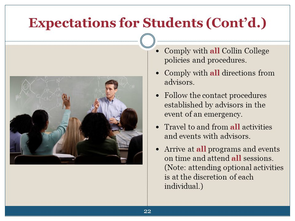 Expectations for Students (Contd.) Comply with all Collin College policies and procedures. Comply with all directions from advisors. Follow the contac