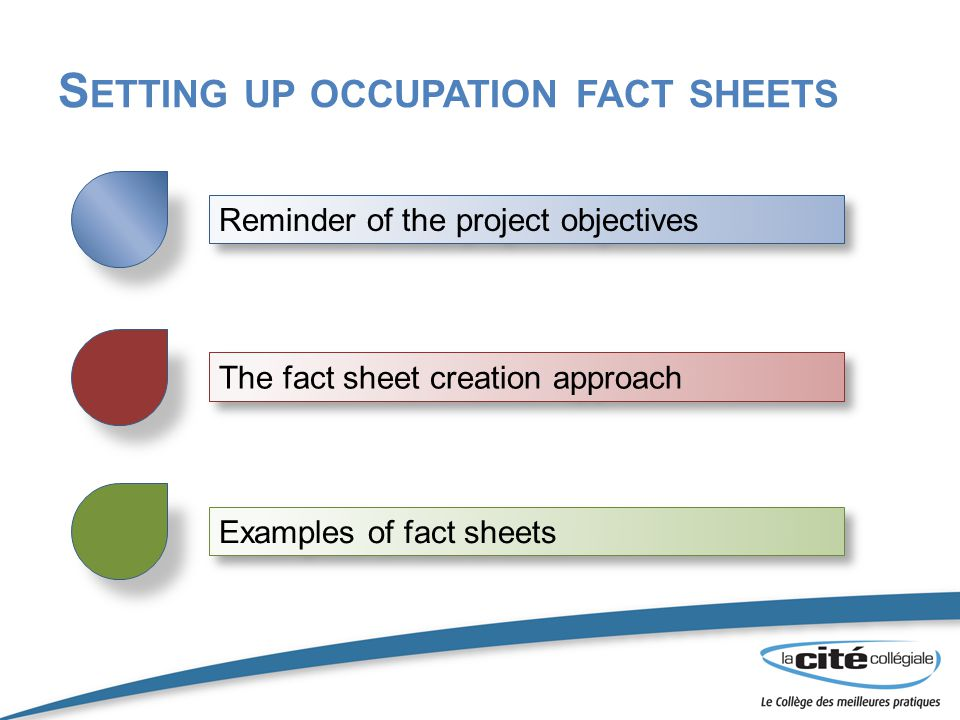 S ETTING UP OCCUPATION FACT SHEETS Examples of fact sheets Reminder of the project objectives The fact sheet creation approach