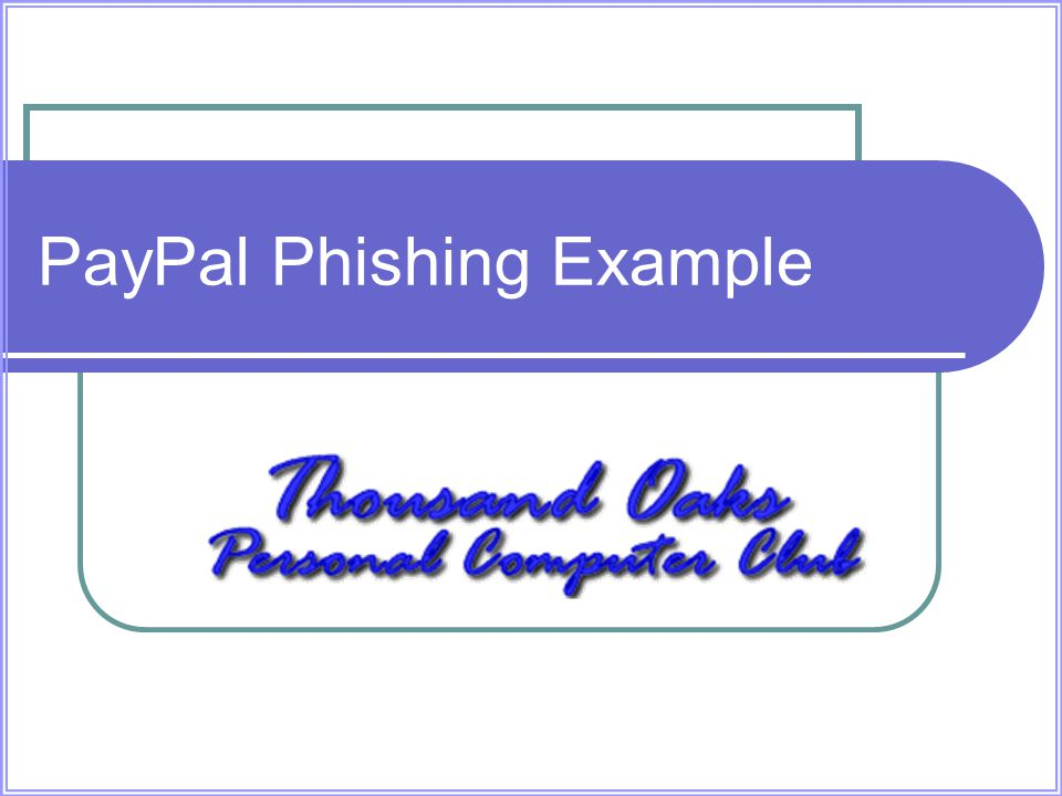 PayPal Phishing Example