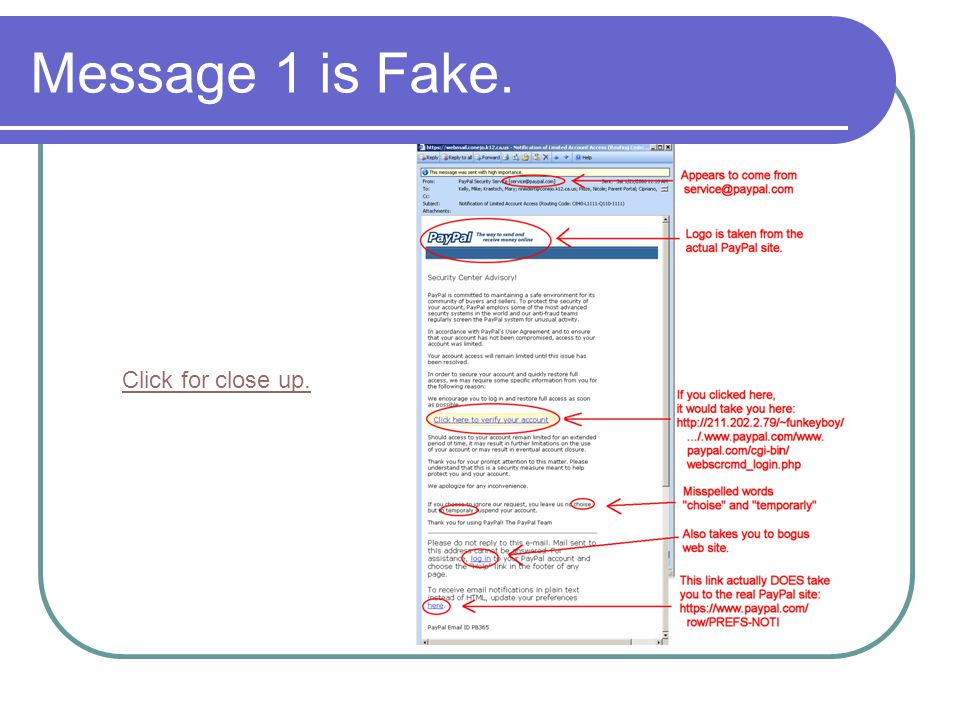 Message 1 is Fake. Click for close up.