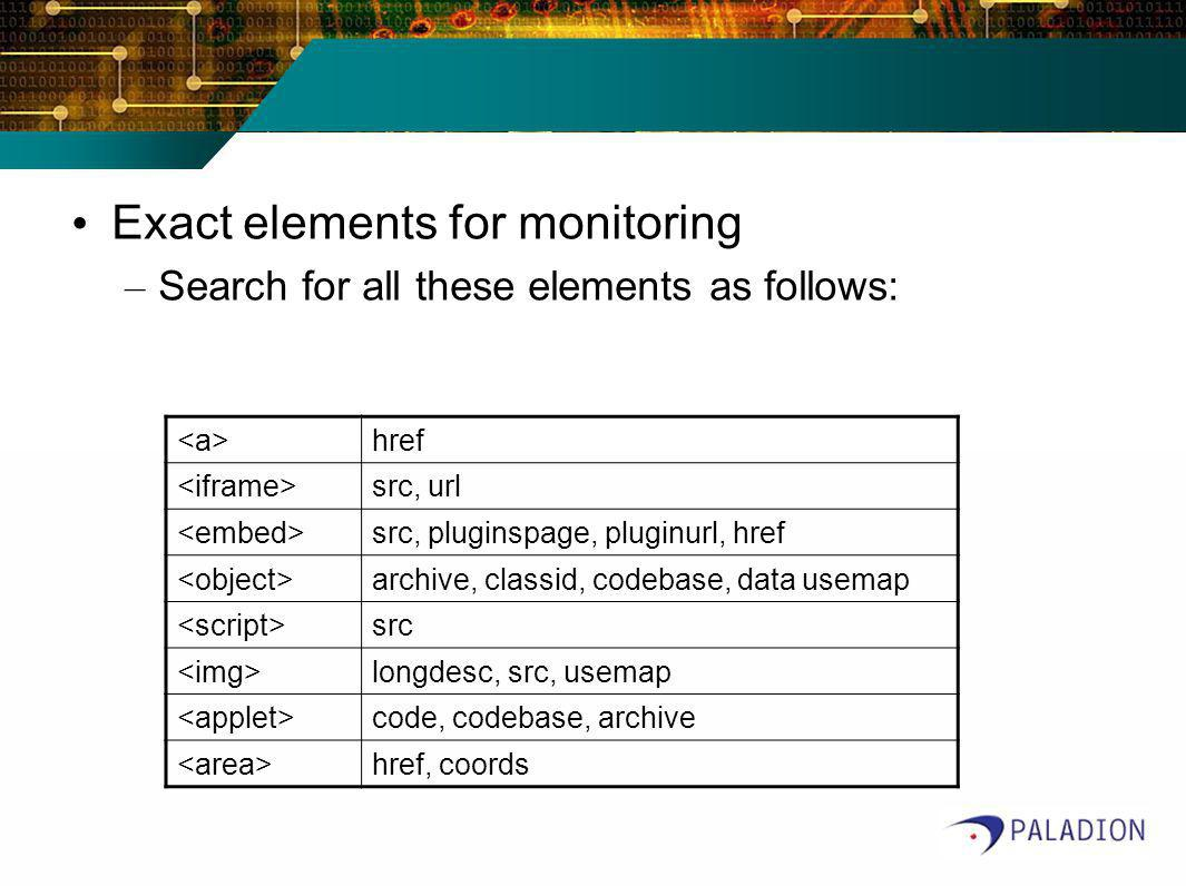 Exact elements for monitoring – Search for all these elements as follows: href src, url src, pluginspage, pluginurl, href archive, classid, codebase,