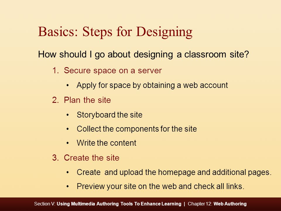 Section V: Using Multimedia Authoring Tools To Enhance Learning | Chapter 12: Web Authoring Basics: Steps for Designing How should I go about designing a classroom site.
