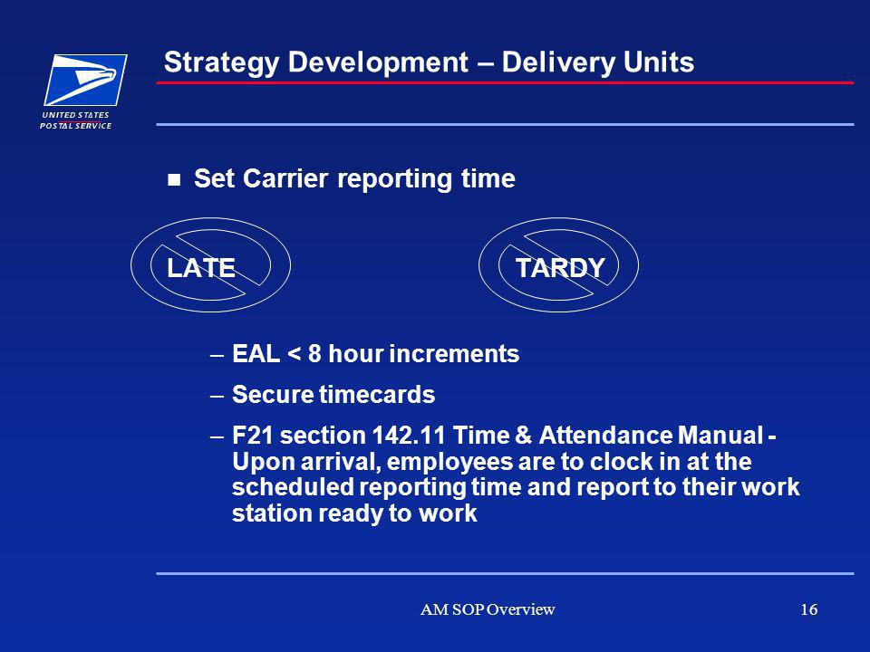AM SOP Overview16 Set Carrier reporting time LATETARDY –EAL < 8 hour increments –Secure timecards –F21 section 142.11 Time & Attendance Manual - Upon arrival, employees are to clock in at the scheduled reporting time and report to their work station ready to work Strategy Development – Delivery Units