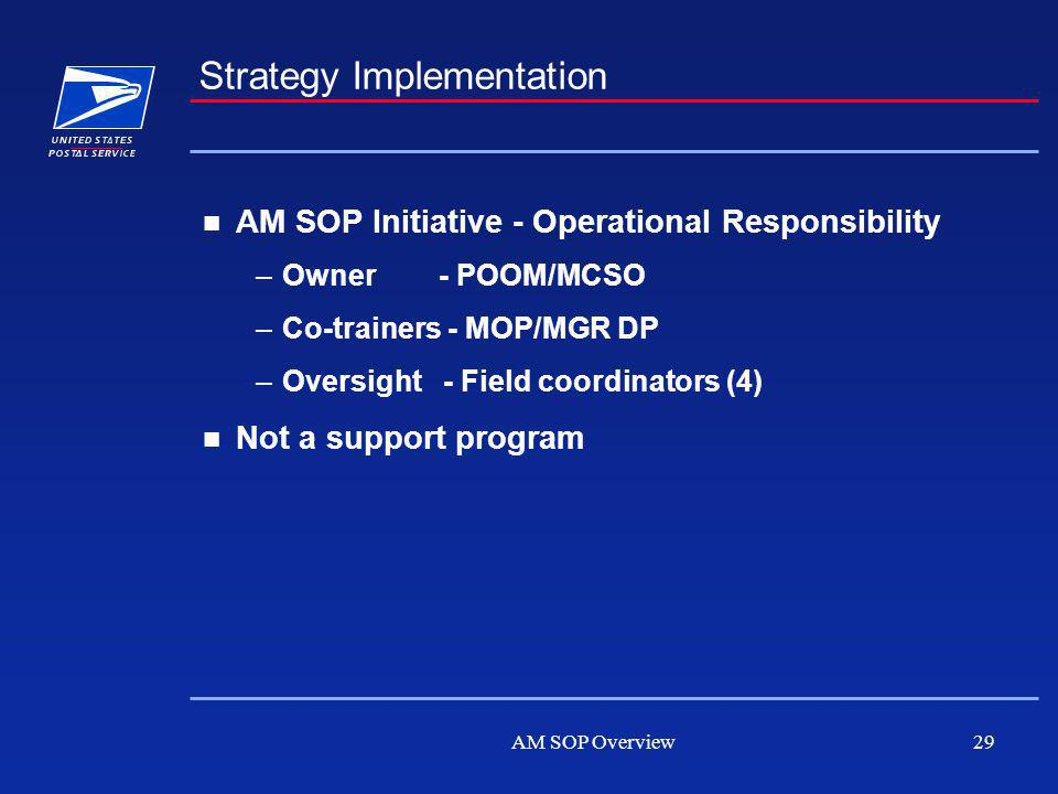 AM SOP Overview29 Strategy Implementation AM SOP Initiative - Operational Responsibility –Owner - POOM/MCSO –Co-trainers - MOP/MGR DP –Oversight - Field coordinators (4) Not a support program