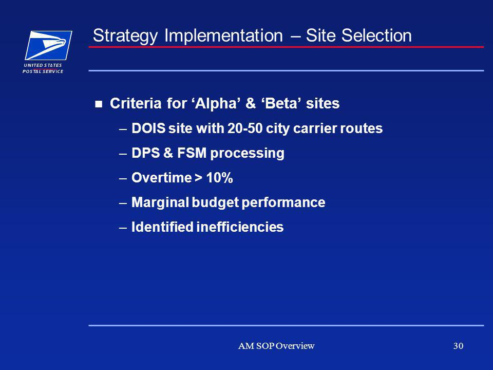 AM SOP Overview30 Strategy Implementation – Site Selection Criteria for Alpha & Beta sites –DOIS site with 20-50 city carrier routes –DPS & FSM processing –Overtime > 10% –Marginal budget performance –Identified inefficiencies
