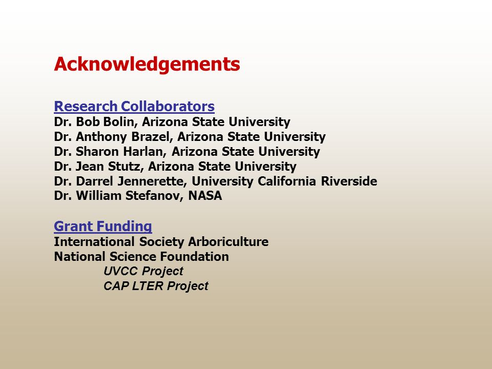 Acknowledgements Research Collaborators Dr. Bob Bolin, Arizona State University Dr. Anthony Brazel, Arizona State University Dr. Sharon Harlan, Arizon