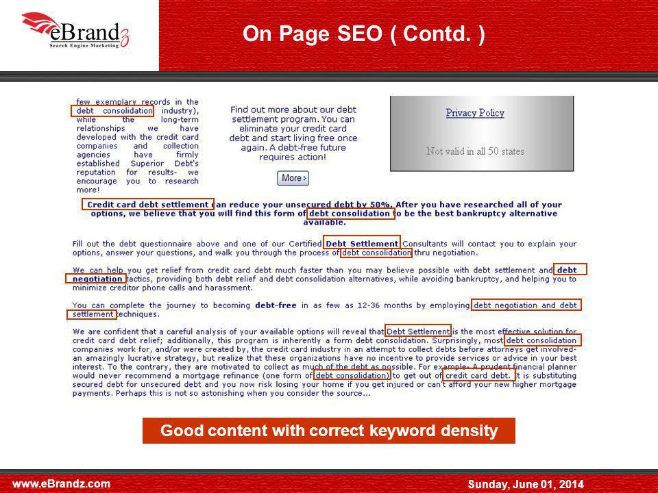 www.eBrandz.com Sunday, June 01, 2014 On Page SEO ( Contd.
