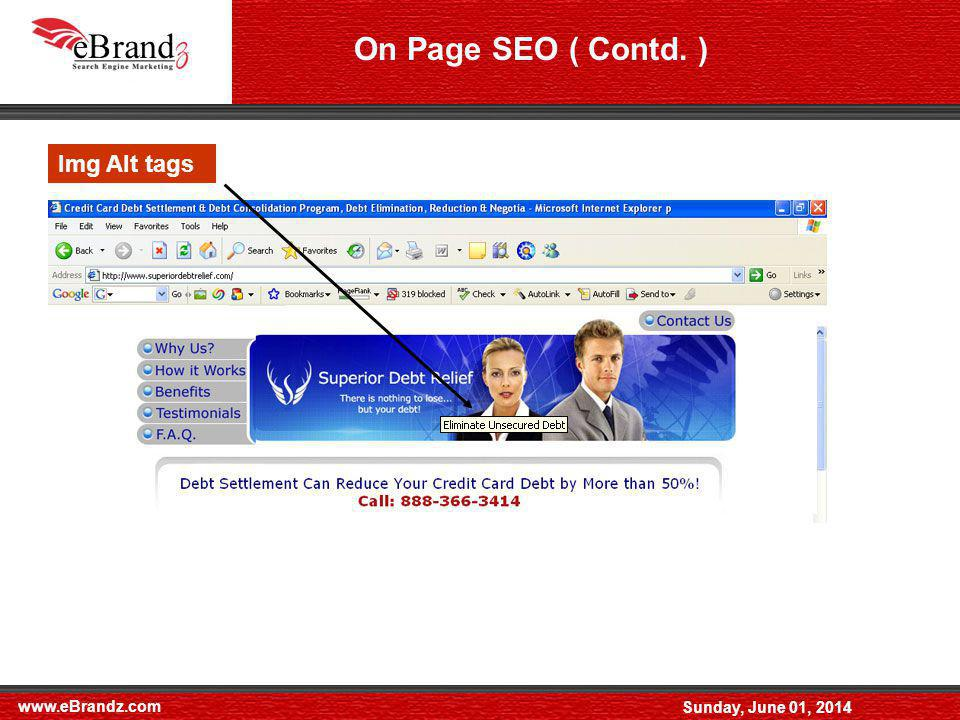 www.eBrandz.com Sunday, June 01, 2014 Filenames Img Alt tags On Page SEO ( Contd. )