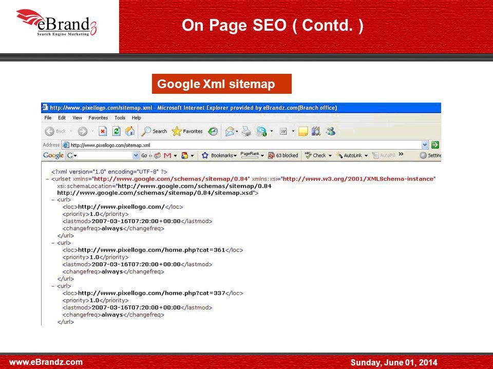 www.eBrandz.com Sunday, June 01, 2014 Simple Sitemap - Google Xml sitemap On Page SEO ( Contd. )