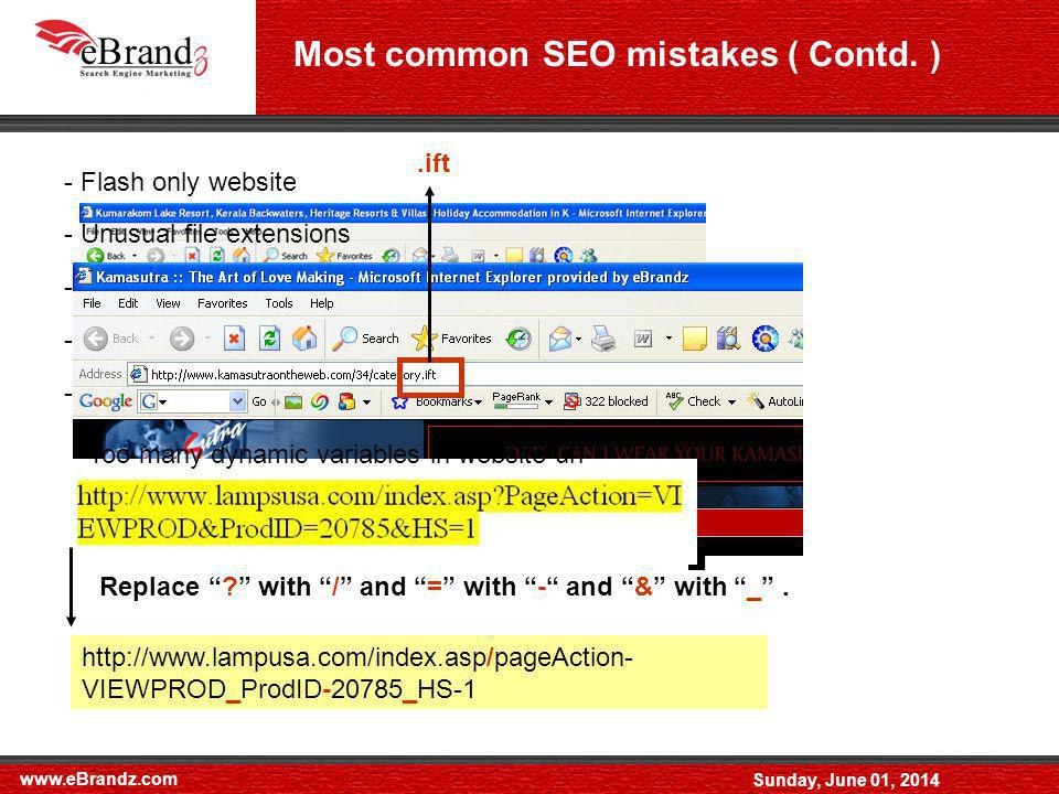 www.eBrandz.com Sunday, June 01, 2014 Most common SEO mistakes ( Contd.