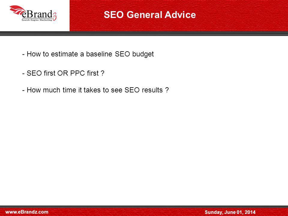 www.eBrandz.com Sunday, June 01, 2014 SEO General Advice - How to estimate a baseline SEO budget - SEO first OR PPC first .