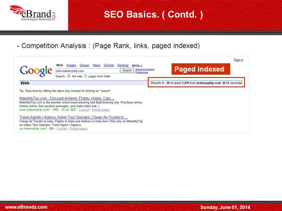 www.eBrandz.com Sunday, June 01, 2014 - Keyword Selection (Proper Keyword Selection can make or Break SEO campaign) - Off page Optimization - On page Optimization SEO Basics.