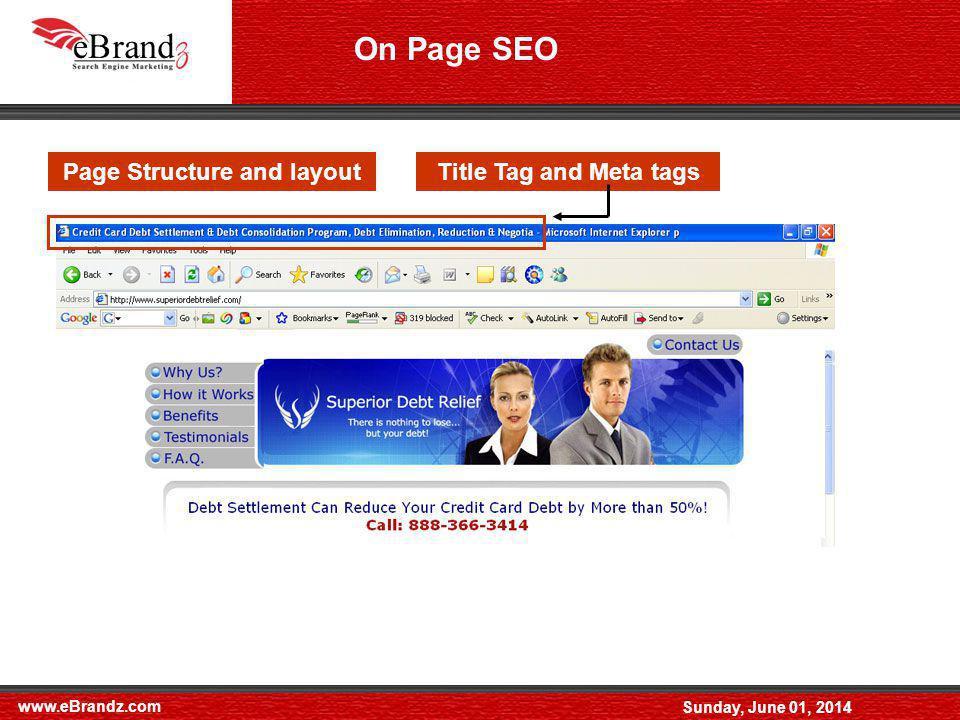 www.eBrandz.com Sunday, June 01, 2014 On Page SEO ( Contd.