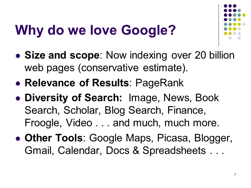 28 Google Book Search Searches full text of indexed books.