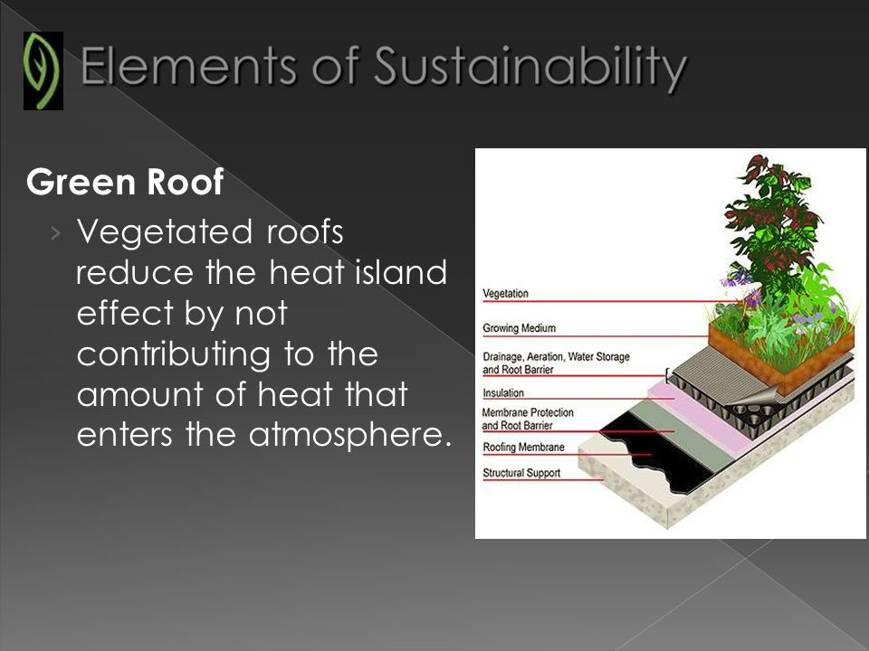 Green Roof Vegetated roofs reduce the heat island effect by not contributing to the amount of heat that enters the atmosphere.