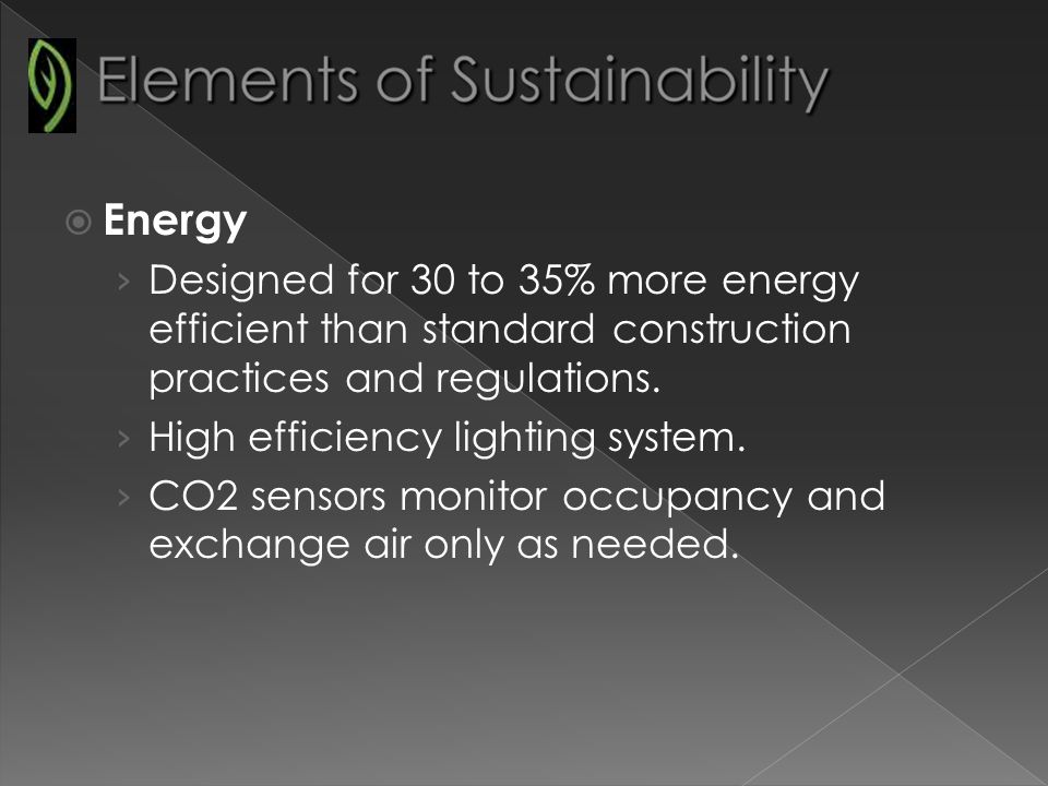 Energy Designed for 30 to 35% more energy efficient than standard construction practices and regulations.