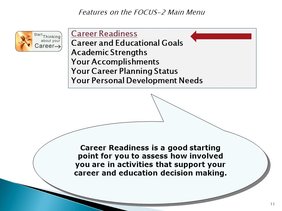 11 Career Readiness Career and Educational Goals Academic Strengths Your Accomplishments Your Career Planning Status Your Personal Development Needs F