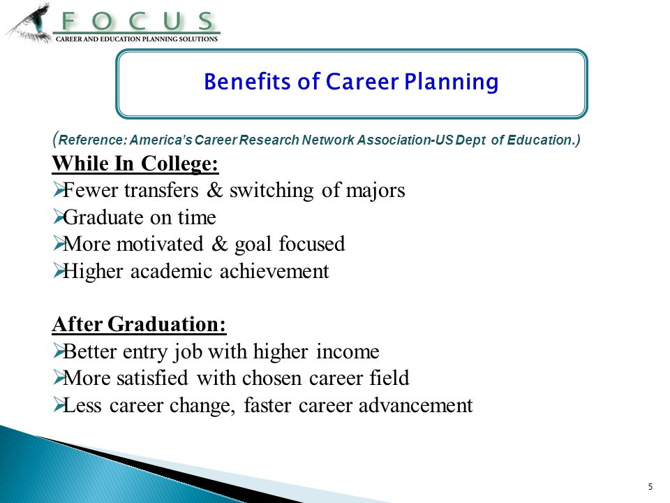 5 ( Reference: Americas Career Research Network Association-US Dept of Education.) While In College: Fewer transfers & switching of majors Graduate on